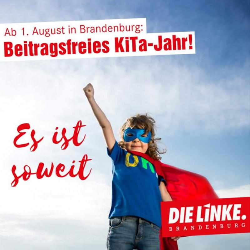 Plakat der Linken mit Kind in Superman-Kostüm